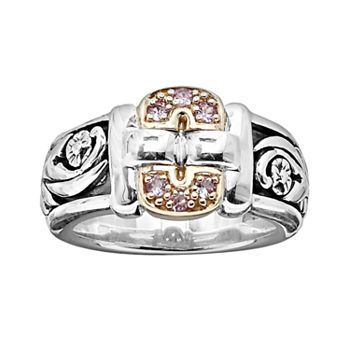 Lyric 18k Gold and Sterling Silver Pink Sapphire Buckle Ring