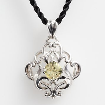 Lyric Sterling Silver Lemon Quartz Filigree Pendant
