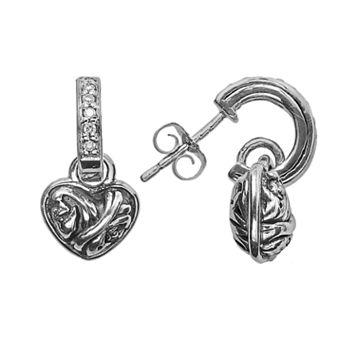 Lyric Sterling Silver Diamond Accent Heart Flower Drop Earrings
