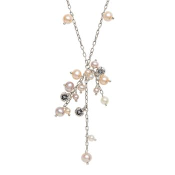 Lyric Sterling Silver Dyed Freshwater Cultured Pearl and Diamond Accent Drop Necklace