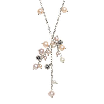 Lyric Sterling Silver Dyed Freshwater Cultured Pearl & Diamond Accent Drop Necklace