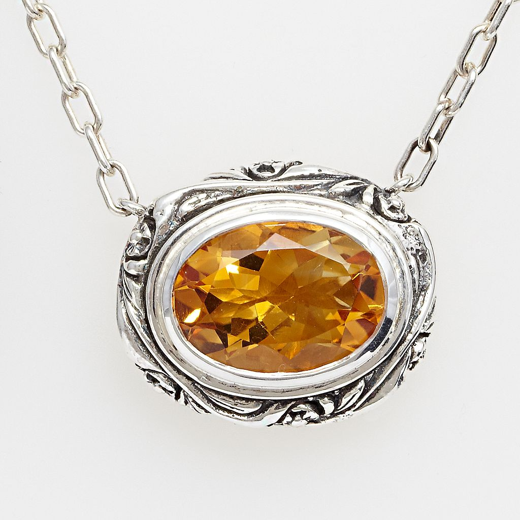Lyric Sterling Silver Citrine Flower Pendant