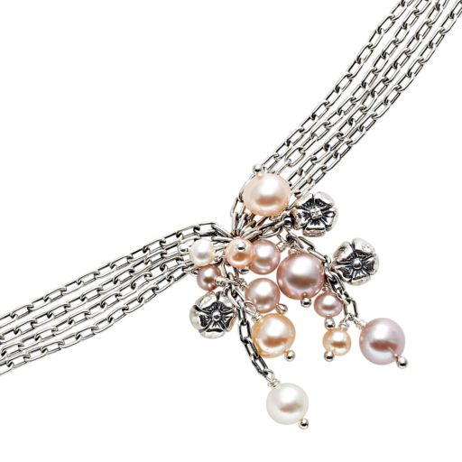 Lyric Sterling Silver Freshwater Cultured Pearl and Diamond Accent Flower Cluster Multistrand Bracelet