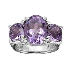 Lyric Sterling Silver Amethyst Flower 3-Stone Ring