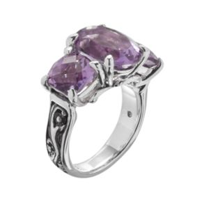 Lyric Sterling Silver Amethyst Flower 3-Stone Ring