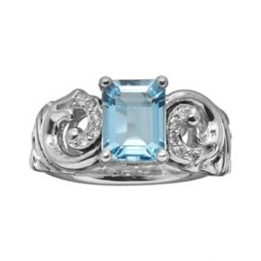 Lyric Sterling Silver Blue Topaz and Diamond Accent Openwork Scroll Ring
