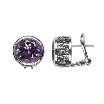 Lyric Sterling Silver Amethyst Floral Button Stud Earrings