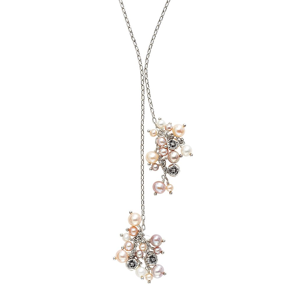 Lyric Sterling Silver Freshwater Cultured Pearl Cluster & Diamond Accent Lariat Necklace