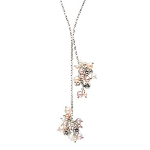 Lyric Sterling Silver Freshwater Cultured Pearl Cluster and Diamond Accent Lariat Necklace