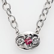 Sterling Silver Pink Topaz and Diamond Accent Necklace