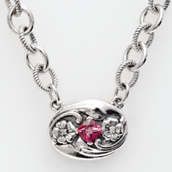 Lyric Sterling Silver Pink Topaz and Diamond Accent Necklace