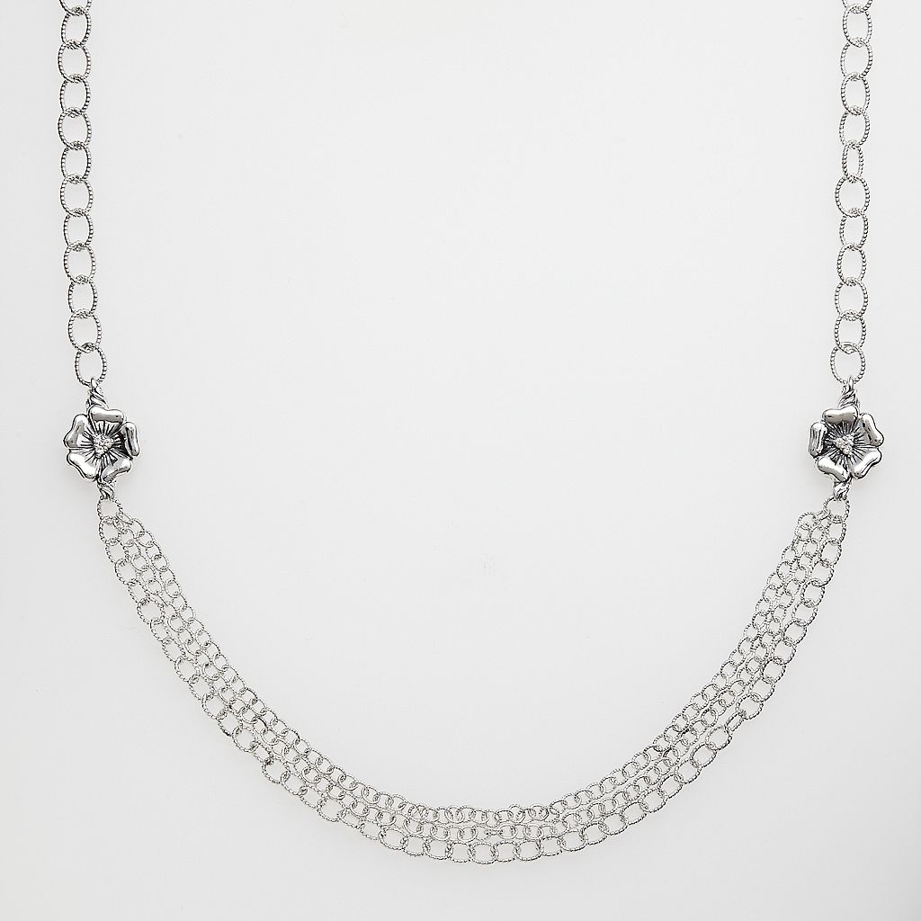 Lyric Sterling Silver Diamond Accent Flower Necklace