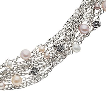 Lyric Sterling Silver Dyed Freshwater Cultured Pearl & Diamond Accent Flower Multistrand Bracelet