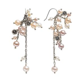 Lyric Sterling Silver Pink Cultured Freshwater Pearl and Diamond Accent Flower Cluster Drop Earrings