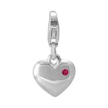 Personal Charm Sterling Silver Garnet Heart Charm
