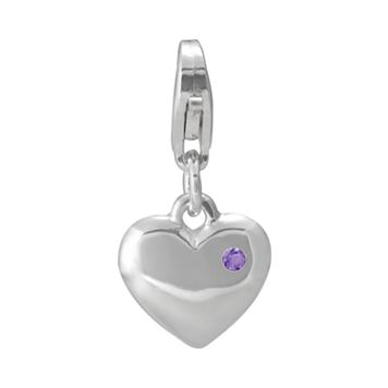 Personal Charm Sterling Silver Amethyst Heart Charm