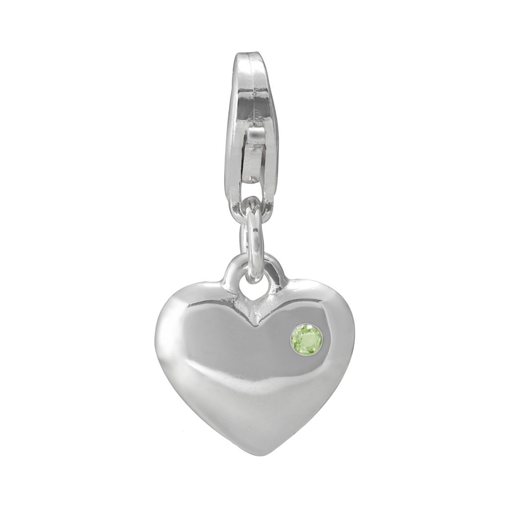 Personal Charm Sterling Silver Peridot Heart Charm