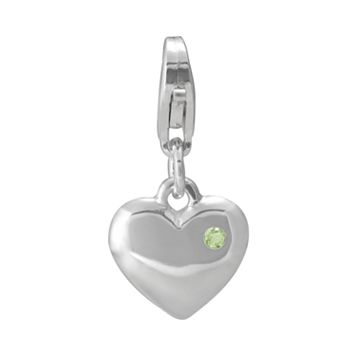 Personal Charm Sterling Silver Peridot Heart Charm