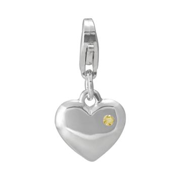 Sterling Silver Citrine Heart Charm