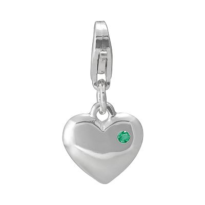 Sterling Silver Simulated Emerald Heart Charm