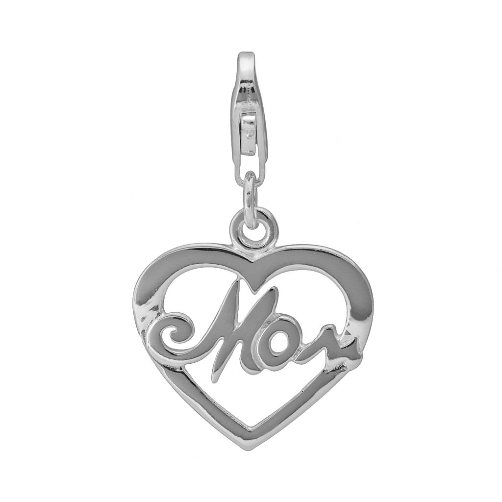 Personal Charm Sterling Silver Openwork Mom Heart Charm