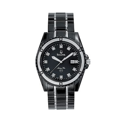 Bulova Marine Star Stainless Steel Black Ion Diamond Accent and Mother-of-Pearl Watch - 98D107K - Men