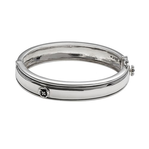 Lyric Sterling Silver Diamond Accent Flower Bangle Bracelet - 2 3/8-in. width