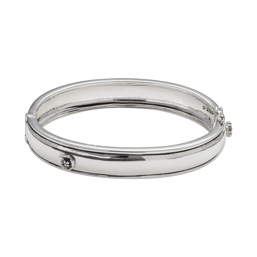 Lyric Sterling Silver Diamond Accent Flower Bangle Bracelet - 2 7/8-in. width