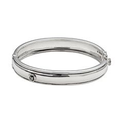 Lyric Sterling Silver Diamond Accent Flower Bangle Bracelet - 2 7/8 in width