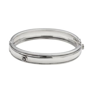 Lyric Sterling Silver Diamond Accent Flower Bangle Bracelet - 2 7/8-in. width