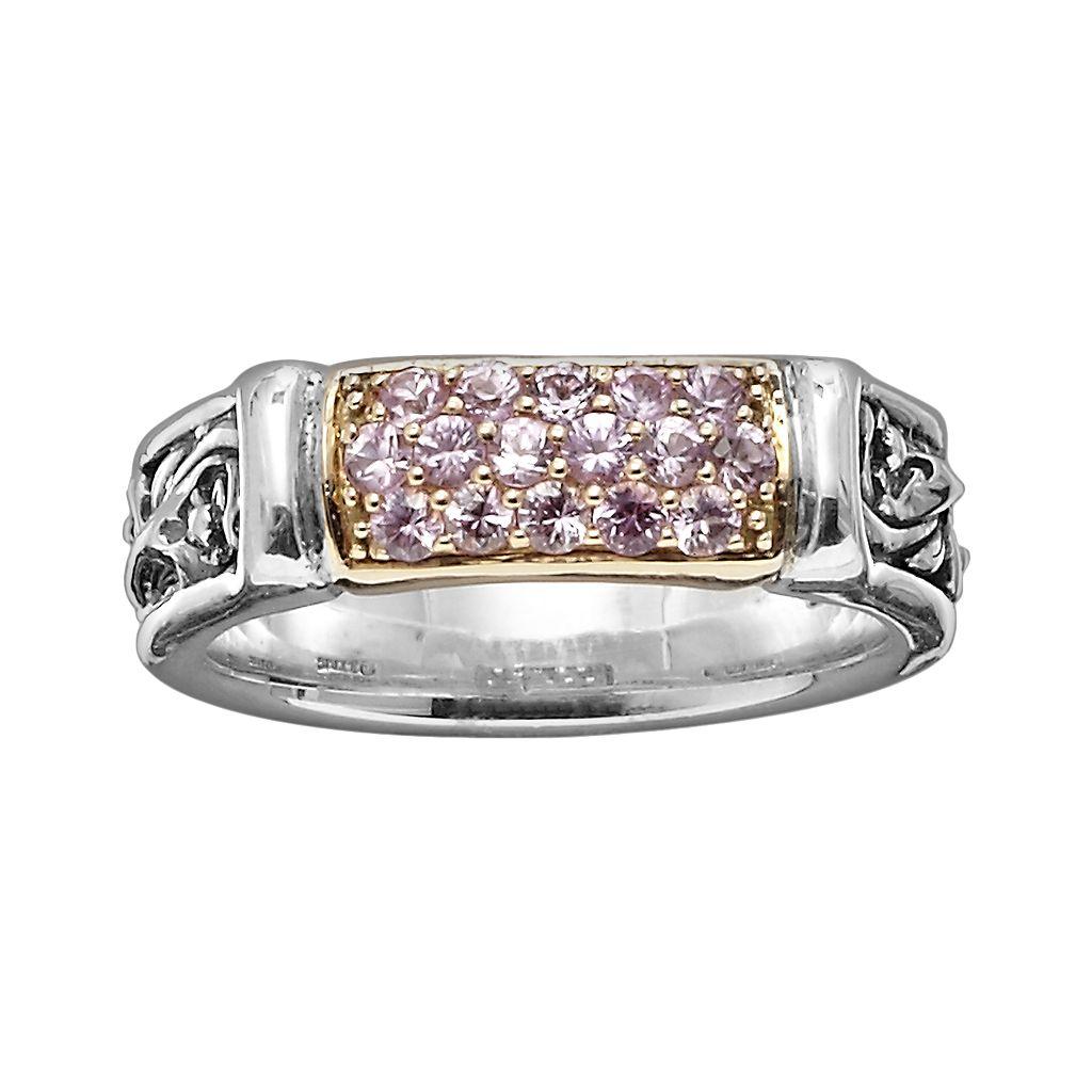 Lyric 18k Gold & Sterling Silver Pink Sapphire Link Ring