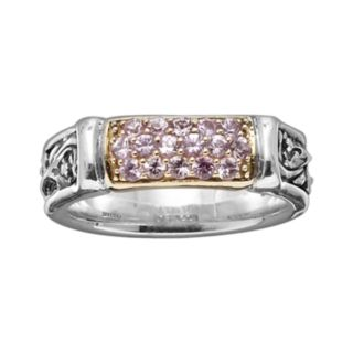 Lyric 18k Gold and Sterling Silver Pink Sapphire Link Ring