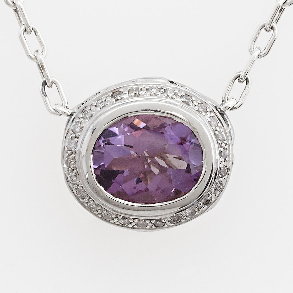 Lyric Sterling Silver Amethyst & Diamond Accent Necklace