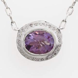 Lyric Sterling Silver Amethyst and Diamond Accent Necklace