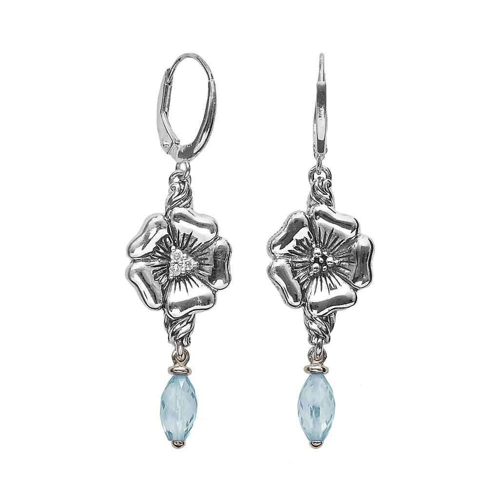 Lyric Sterling Silver Blue Topaz & Diamond Accent Flower Linear Drop Earrings
