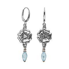 Lyric Sterling Silver Blue Topaz & Diamond Accent Flower Linear Drop Earrings