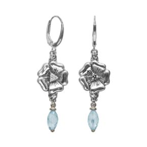 Lyric Sterling Silver Blue Topaz and Diamond Accent Flower Linear Drop Earrings