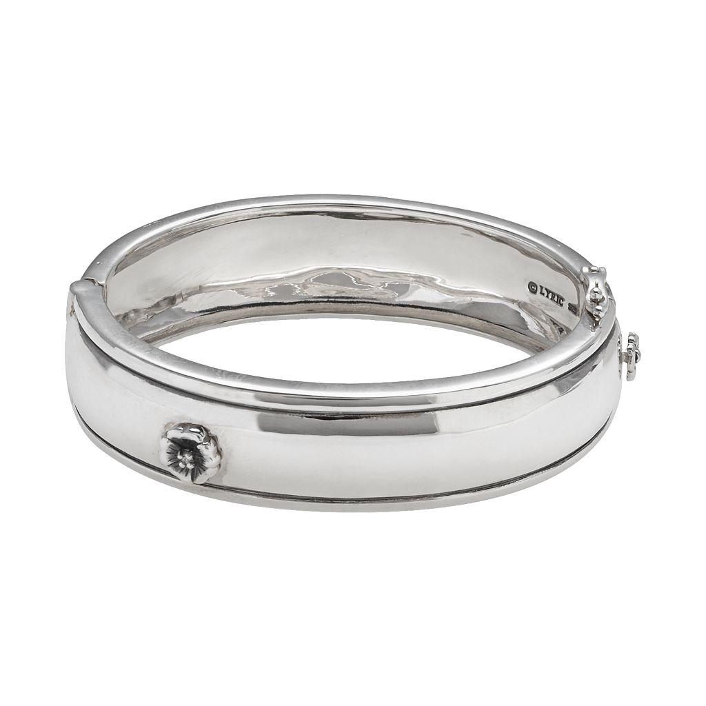 Lyric Sterling Silver Diamond Accent Flower Bangle Bracelet