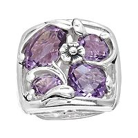 Lyric Sterling Silver Amethyst Flower Openwork Mosaic Ring