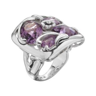 Lyric Sterling Silver Amethyst Flower Openwork Mosaic Ring