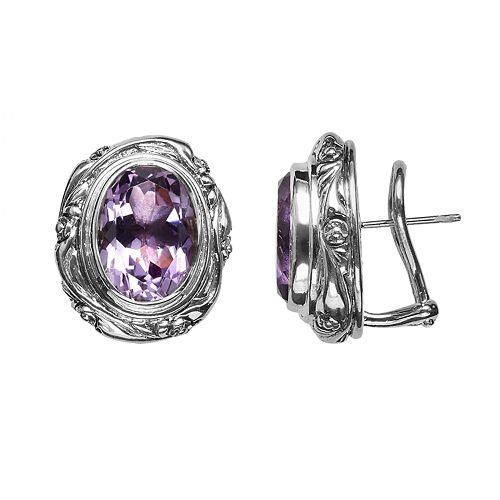 Lyric Sterling Silver Amethyst Flower Oval Button Stud Earrings