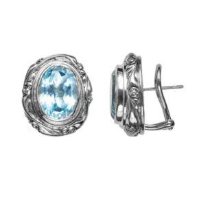 Lyric Sterling Silver Blue Topaz Flower Oval Button Stud Earrings