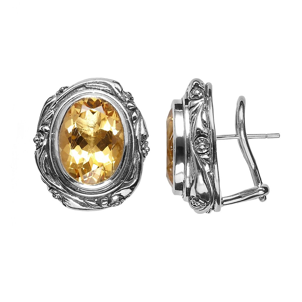 Lyric Sterling Silver Citrine Flower Oval Stud Earrings