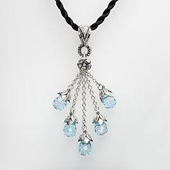Lyric Sterling Silver Blue Topaz Briolette Cluster & Diamond Accent Pendant