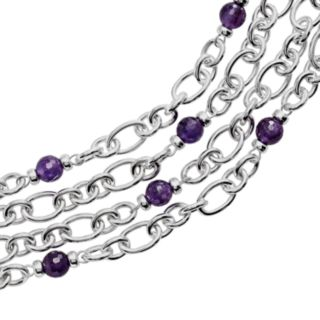 Lyric Sterling Silver Amethyst and Diamond Accent Multistrand Bracelet