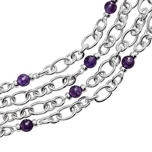 Lyric Sterling Silver Amethyst & Diamond Accent Multistrand Bracelet