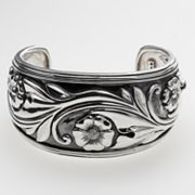 Sterling Silver Diamond Accent Flower Cuff Bracelet