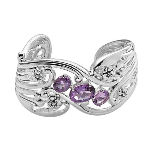 Lyric Sterling Silver Amethyst and Diamond Accent Flower Cuff Bracelet