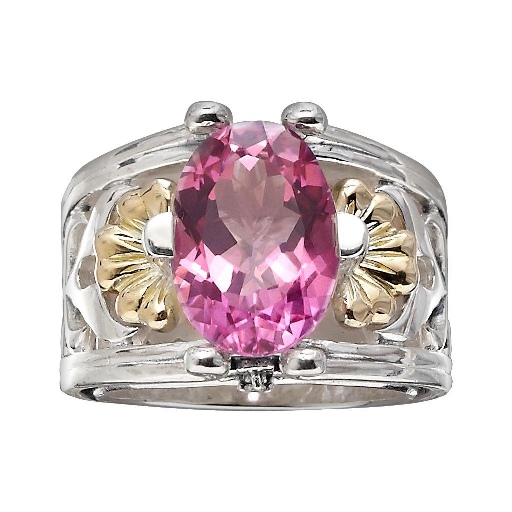 Lyric 18k Gold & Sterling Silver Pink Topaz & Diamond Accent Flower Ring
