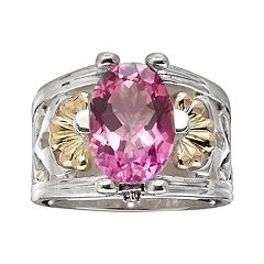 Lyric 18k Gold & Sterling Silver Pink Topaz & Diamond Accent Flower Ring
